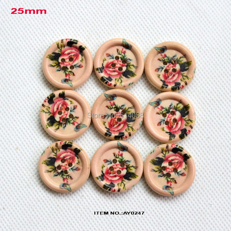 (100pcs/lot) 4 Holes Painted wooden buttons kid's crafts vintage wood sewing button bulk supplies 25mm-AY0247(China (Mainland))