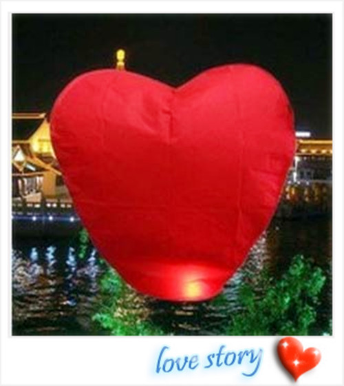 35PCS/lot RED Heart Sky Lanterns Wishing Lamp SKY CHINESE Paper LANTERNS(China (Mainland))
