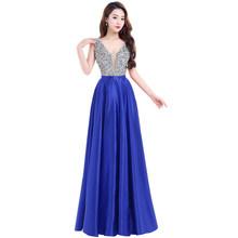 שמלות נשף 2018 עמוק V-צוואר ללא משענת חרוזים קריסטל המפלגה שמלות ללא שרוולים מקיר לקיר-אורך זול טול מפלגה שמלה(China)