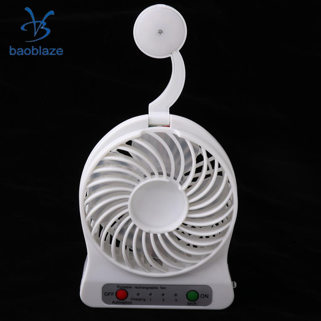 Portable Fan, Mini Cordless 3 Speeds USB Rechargeable 18650 lithium battery Travel Cooling Night Light FAN
