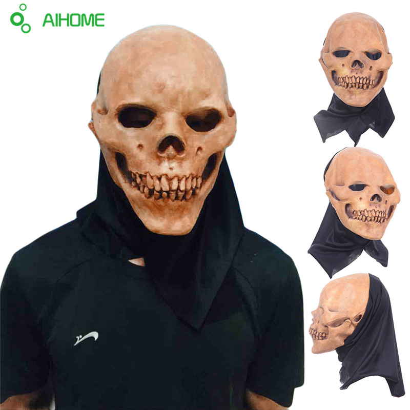 Scary Party Masks Latex Skull Mask Adult Full Head Face Breathable Halloween Mask Fancy Dress Party Cosplay Costume Theater Toy(China (Mainland))