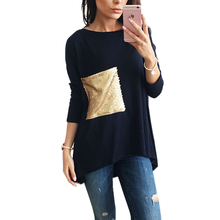 Buy Nice Breif T-Shirts Women's Asymmetric O Neck Long Bottoming Tunic T Shirts Sequined Tshirts Top Plus Size Tee Top LX101 Limited) for $7.59 in AliExpress store