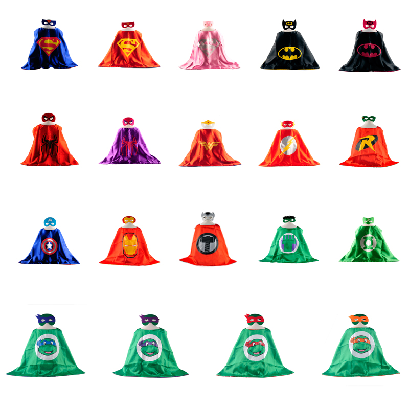 50pcs 1 cape+ 1 mask DHL free shipping kids superhero costume baby superhero capes for boys girls birthday Party supplies gift