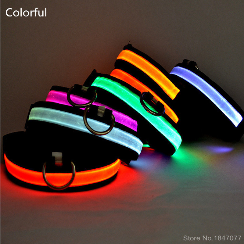LED Nylon Pet Dog Collar Big Small And Medium-Sized Dog Pet Collar Color Luminous LED Dog Collar In The Dark Light-Up 160310-3(China (Mainland))