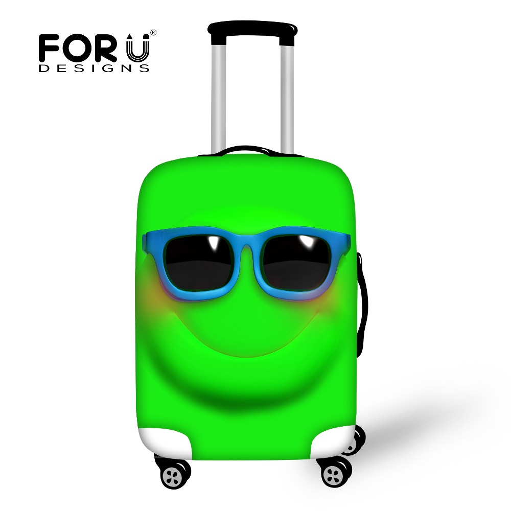 2016 Funny Emoji Face Women Travel Waterproof Bags Luggage Cover Elastic Stretch Protect Suitcase Covers Apply to 18''-30'' Case(China (Mainland))