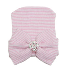 Hospital Newborn Hat Baby Girl Cotton Beanie With Bow Newborn Soft Knit Infant Caps Hospital Hat Baby Toddler Hat Accessories(China (Mainland))