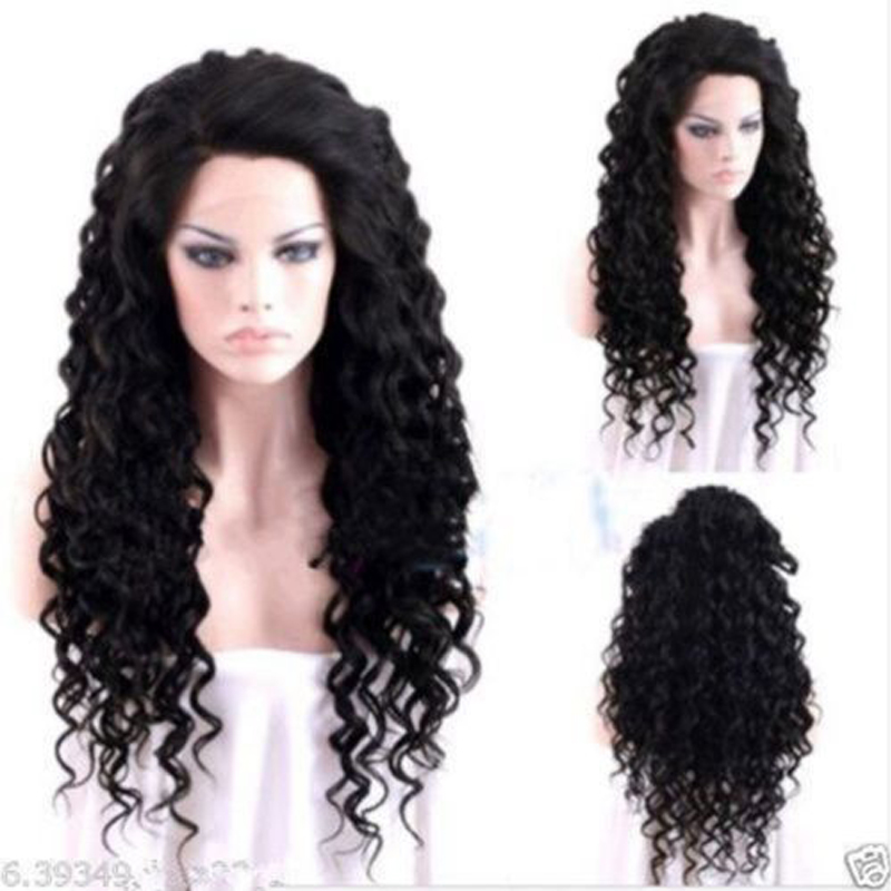 Long Black Curly Synthetic Lace Front Wig For Black Women High Quality Natural Looking Synthetic Hair Black Wigs Heat Resistant(China (Mainland))