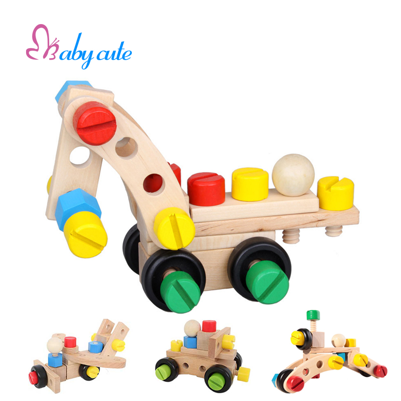 Baby Assembly Wooden Toys Screw Nut Car Plane Eduational Brain Training Play Multiple Assembly Building Block Gift For Kids(China (Mainland))