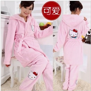Autumn winter lovely kt cat sleepwear female lengthen thickening coral fleece robe lacing pajama pants twinset - asd9 store