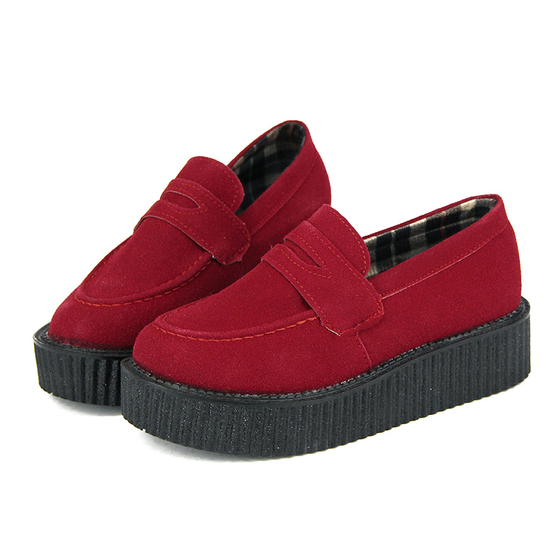 Plus Size 35-41 Creepers Platform Shoes Woman Flats Shoes Creepers Shoes Sapatos Mujer Black SG01