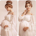 New White Lace Maternity Dress Photography Props Long Lace Dress Pregnant Women Elegant Fancy Photo Shoot