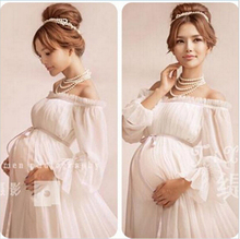 New White Lace font b Maternity b font Dress Photography Props Long Lace Dress Pregnant Women