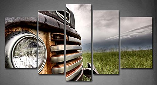 5 Panel Wall Art Old Vintage Truck On The Prairie Painting Pictures Print On Canvas Car The Picture For Home Modern Decoration(China (Mainland))