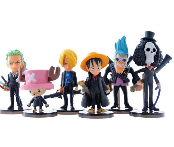6Pcs/Set 10cm Japanese Anime One Piece Q version Luffy Roronoa Tony PVC Action Figure Toys Free Shipping(China (Mainland))
