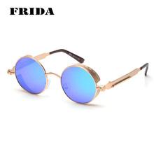 FRIDA 2016 New Fashion Round Sunglasses Women Men Brand Designer Steampunk Vintage Metal Carving Eyewear oculos de sol