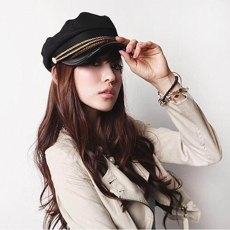 2017 New Fashion Sailor Ship Boat Captain Military Hats Peaked Cap Black Baseball Caps Flat Hat for Women Berets(China (Mainland))