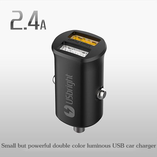 USB car charger Glow USbright SP 2.4 A USB car charger apple iphone/ipod samsung car charger(China (Mainland))