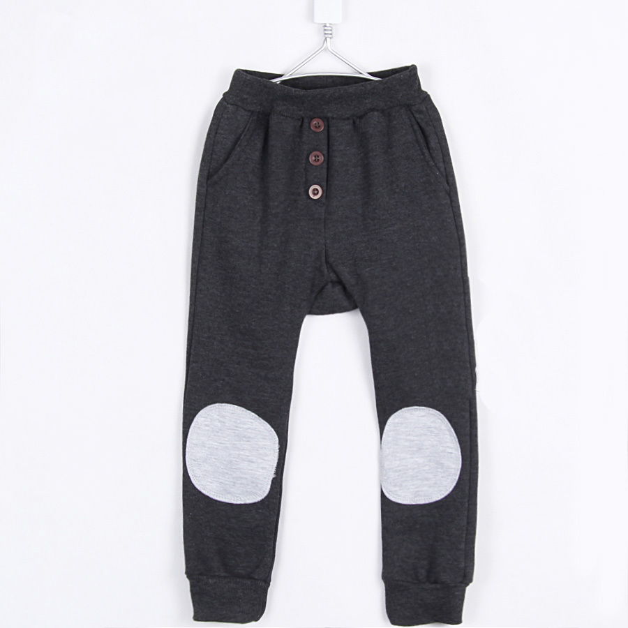 2015 autumn and winter fashion patch boys harem pants clothing kids trousers boys warm fleece long trousers A0099(China (Mainland))