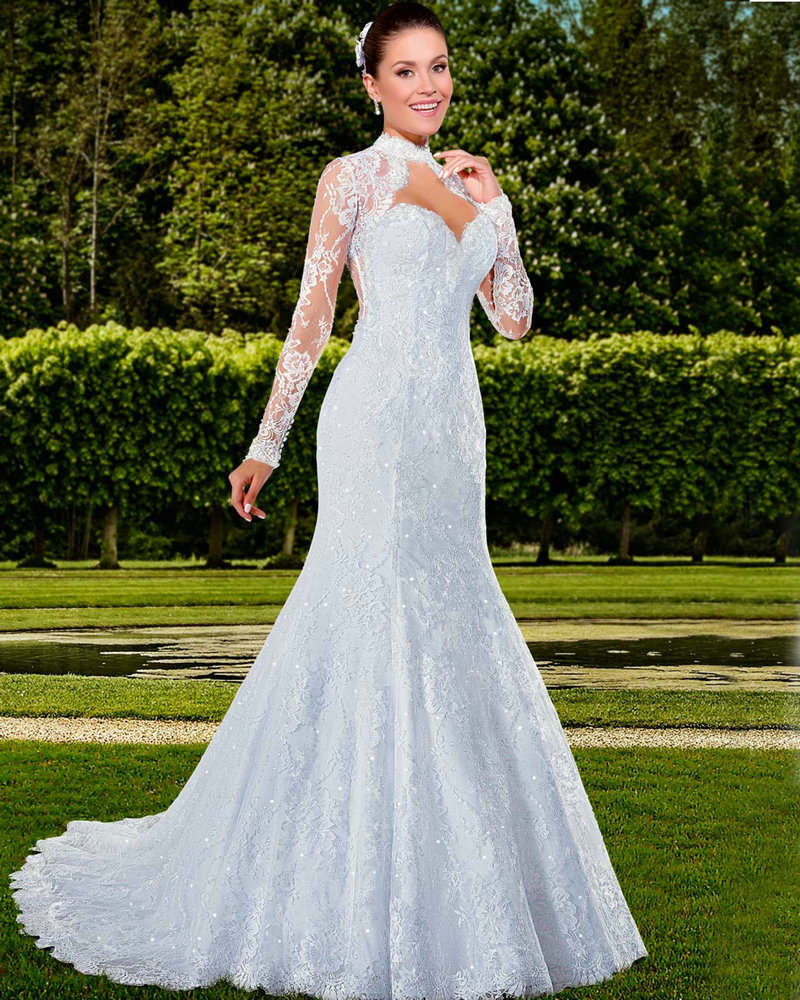 Elegant long sleeve wedding gowns with jacket open back for Wedding dress long sleeve lace jacket