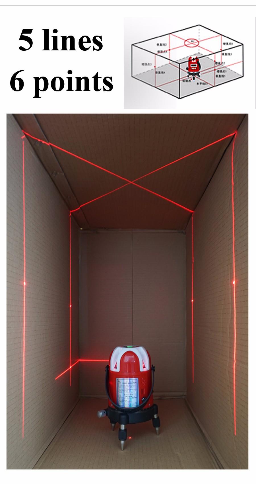 Купить Freeshipping! 5 линий 6 очков лазерный уровень 360 поворотный крест лазерной для выравнивания линии с открытый модель 5 линий 6 точки лазерного уровень