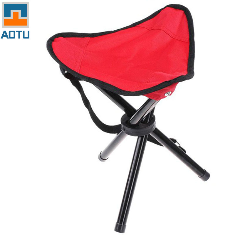 AOTU Big Size Outdoor Camping Tripod Folding Stool Chair Fishing Foldable Por
