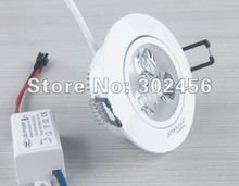 wholesale free shipping 100pcs 3w led ceiling dowlight .paint white cover(China (Mainland))