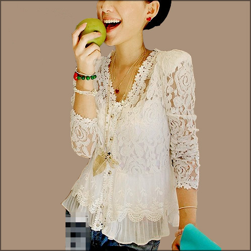 Blusas Feminina Blusas Blusa Feminina 2015 Plus Size Women Blouses Lace Shirt Tops Summer Ladis Blouse Puff Sleeve Camisas D28(China (Mainland))