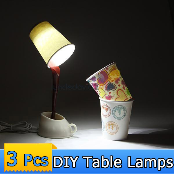 3Pcs DIY Paper Cups Night Light Novelty Coffee Cup Down Night Lamp Room Table LED Night Light Home USB Battery Creative Light(China (Mainland))