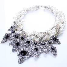 New Resin Imitation Pearl Knitted Choker Necklaces Resin Flower Necklaces Pendants for Women Jewelry N2569