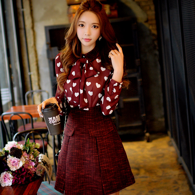 Original New 2015 Brand Autumn and Winter Robe Plus Size Slim Casual Chiffon Patches Bow Festival Shirt  Dresses Women WholesaleОдежда и ак�е��уары<br><br><br>Aliexpress