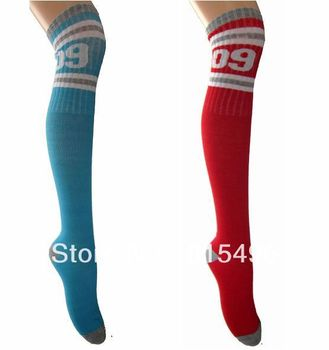 Women's knee-high stockings 100% cotton knee sports football socks