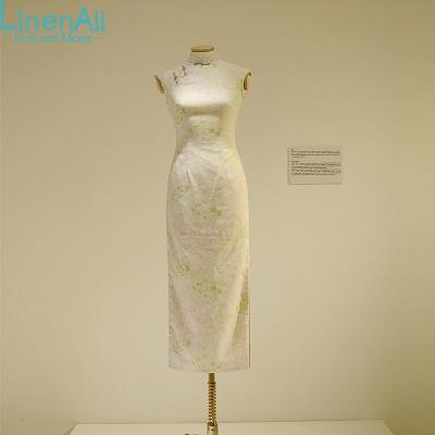 Cotton and linen clothing women's new Chinese style print sleeveless mandarin collar cheongsam dress Momo LinenAll(China (Mainland))