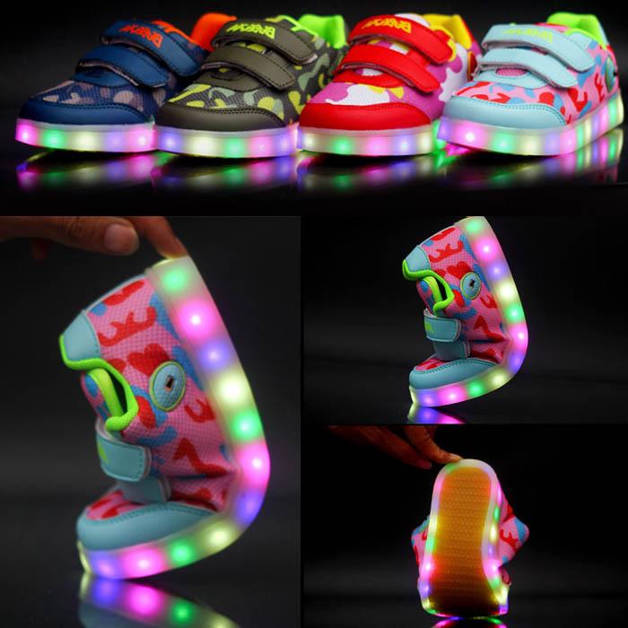 2015 New Midi Print LED Light Children Sneakers Unisex/Kids Fashion Sneakers With Light/Girls&Boys Light Shoes/Sapato Menina