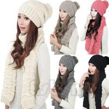 Hot Fashion Warm Scarf Hat Set All-match Knitting Wool Beanies Bonnet Girls Warm Skullies Cap Accessories Christmas Gift MZ031(China (Mainland))