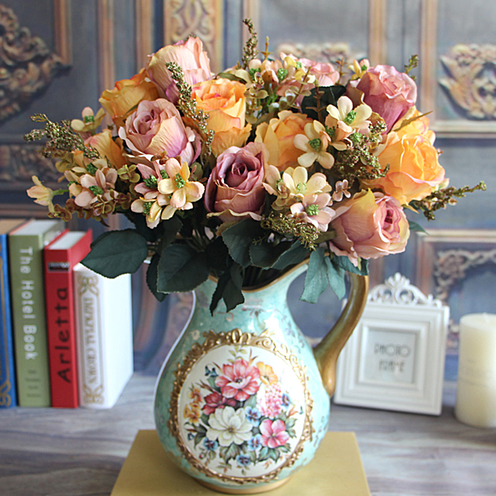 Beautiful Delightful Milk White Large Earl Rose Bouquet Artificial Flowers Hotel Wedding Home Decorative Flower(China (Mainland))