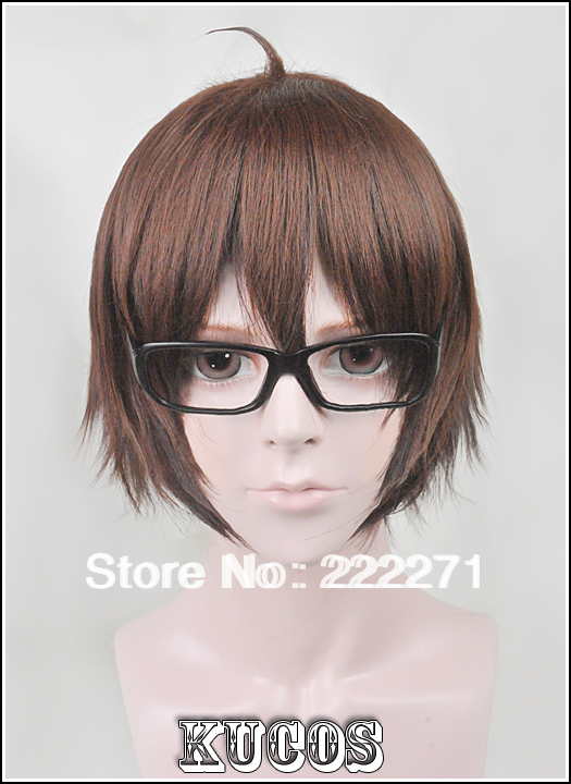 Anime Meganebu Soma Tago Short Mixed Brown Full Lace Cosplay Wig Without glasses Costume Heat Resistant + Cap<br><br>Aliexpress