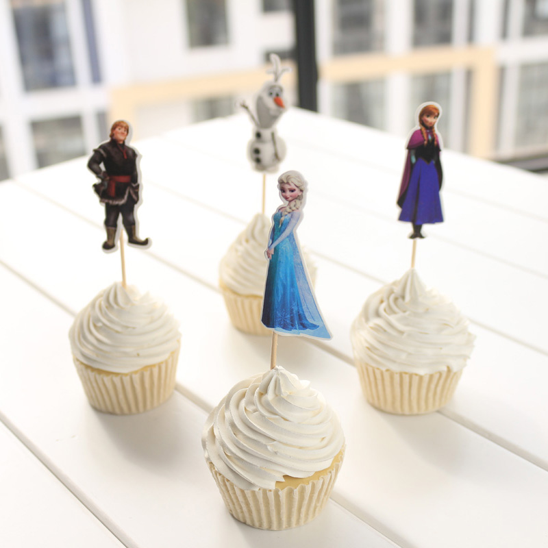 24 pcs Brave Princess Elsa Cup cake topper pick Snow Queen elsa anna olaf food Picks birthday party decorations(China (Mainland))