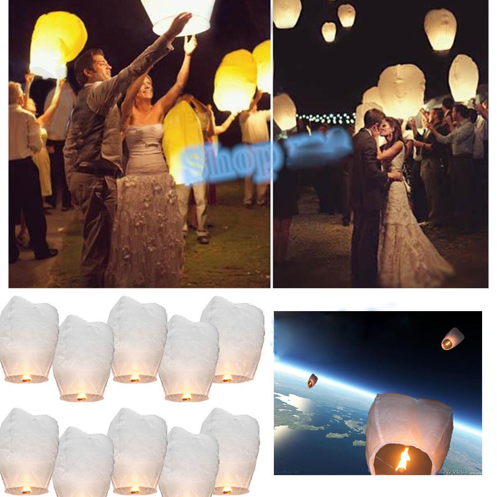 10pcs Chinese Lantern paper White Wedding Decoration sky lanterns Flying Candle Wish Lamp for Birthday Wish Party ideas /13(China (Mainland))