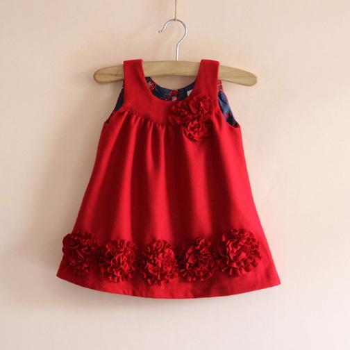Girls flowers spring and autumn winter woolen vest dress children fashion cute girls red dresses()