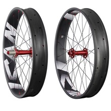 Carbon fat bike 26er carbon wheels 90mm width tubeless ready carbon snow bike wheelseet with logos 197/190X12 135×15 150×15 FW90