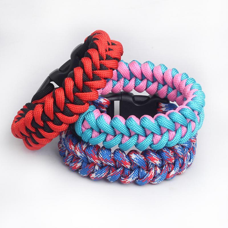 Fashion Parachute Cord Bracelet Hand Knitting Bracelet Fish Bone Pattern Outdoor Survival Bracelet(China (Mainland))