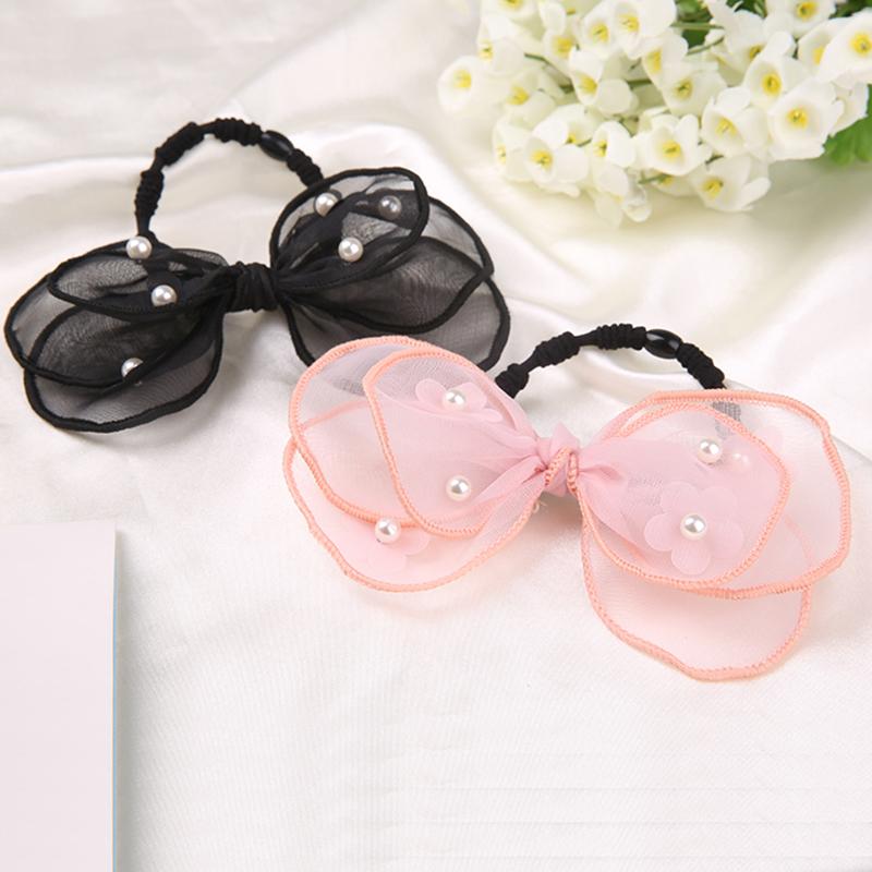 2016 New Arrival Women Girls gauze bow Headbands Korean Fashion Rubber Band Hair Accessories Elastic Hair Bands PVK0789(China (Mainland))