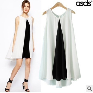 2015 summer elegant show thin black and white color matching pls size women sexy leisure dress women clothing WQZ14012(China (Mainland))