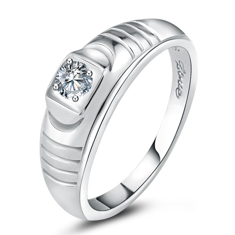 Hot Sales High Quality Real 925 Sterling Silver Fashion Wedding Engagement Jewelry Simulated Diamond Clear Zircon Men Male Rings(China (Mainland))
