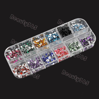 1800pcs/box Mix Color Teardrop Nail Art Decoration Nail Rhinestones Deco Glitters Gems  36
