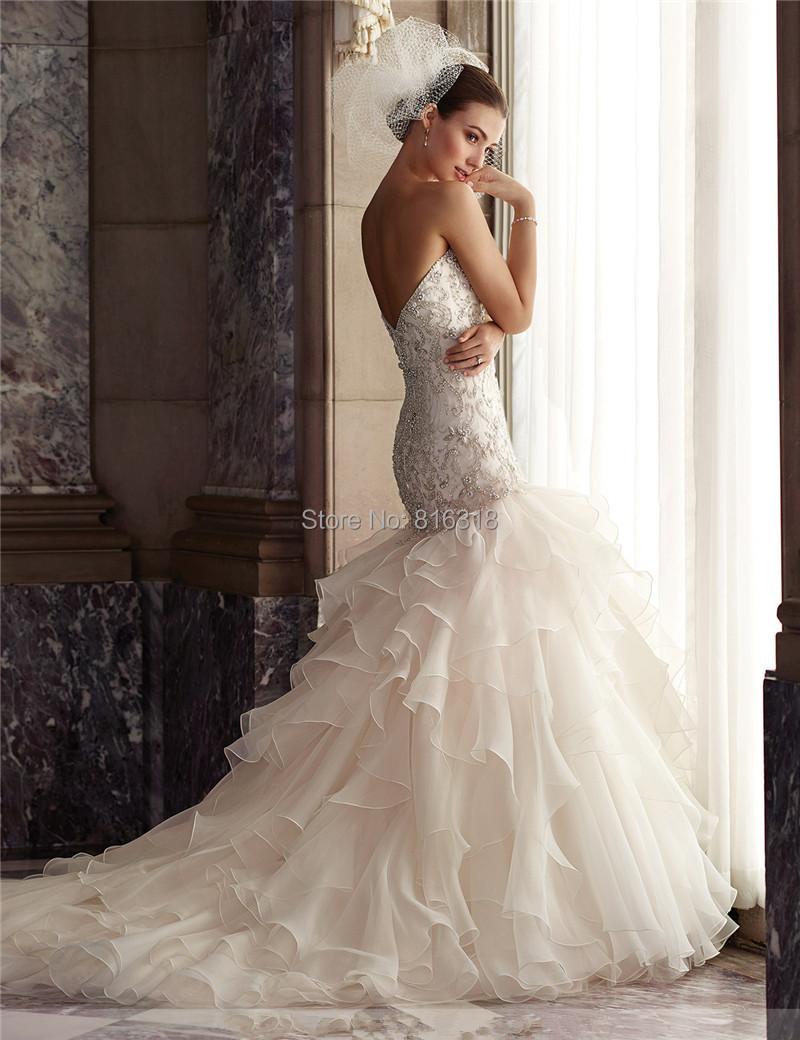 Vestidos де Noiva Кристалл Бисероплетение Органзы Принцесса Свадебные Платья Раффлед Trouwjurk Русалка Robe de Mariage