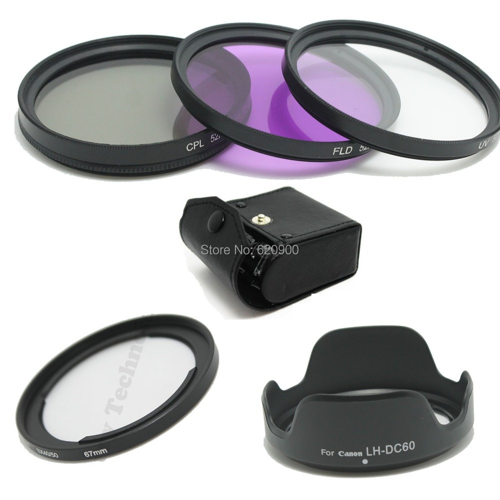 67mm Lens UV CPL FLD Filter Kit For Canon DSLR SX40 SX50 Adapter Ring +LH-DC60 Lens Hood+CASE  Free Shipping <br><br>Aliexpress