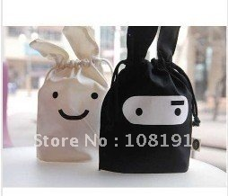 Free shipping Wholesale 10 PCS/lot Folding portable Ninja rabbit travel pouch Storage cartoon bags black and white House Pouch.