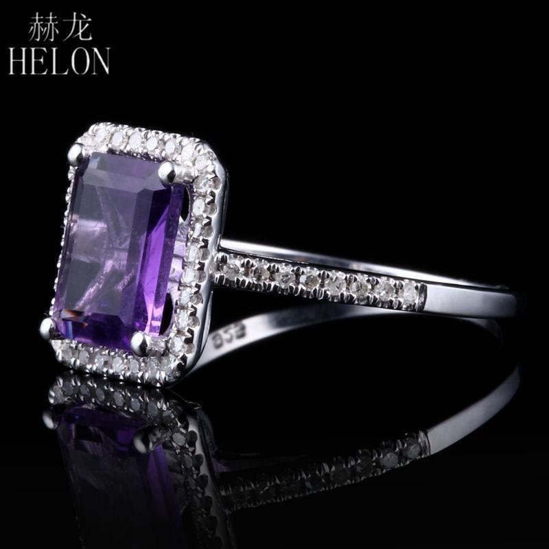 HELON Hot! 8x6mm Emerald Shape 1.9ct Amethyst & Round Natural Diamond Wedding Ring Sterling Silver 925 Women's Jewelry Fine Ring(China (Mainland))