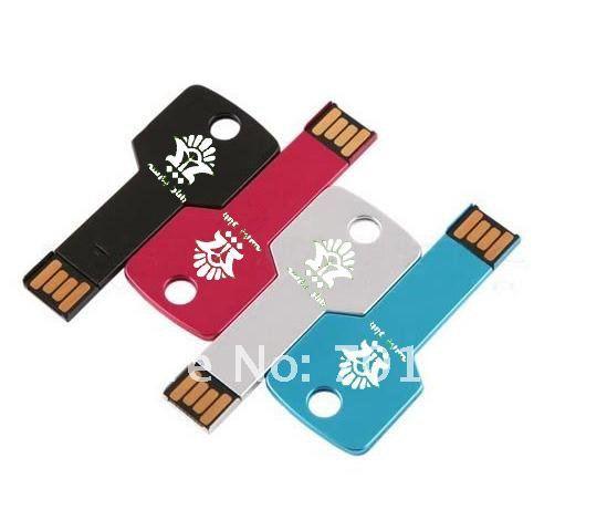 10pcs/lot Real capacity Key Shape USB Flash Drive with logo engraved logo